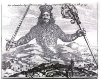 "Detail of the original cover of ""Leviathan"" by Thomas Hobbes"