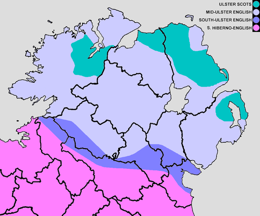 The Ulster counties of Northern Ireland. Image of a map showing the English and Scots dialects spoken in Ulster.