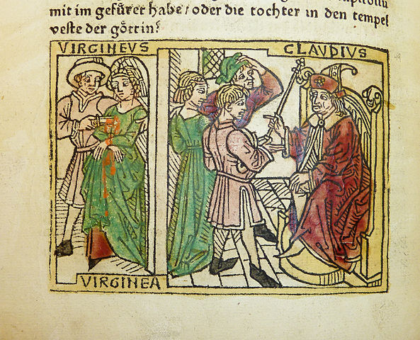 Woodcut illustration of Verginia's trial before Appius Claudius and her death at the hand of her father Verginius, from the Penn Provenance Project, by kladcat