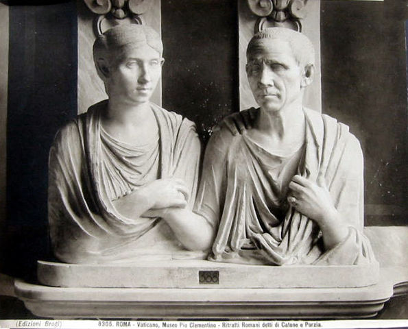 Funereal busts of Cato the Elder and his wife Portia by Carlo Brogi in the Vatican Museum, Rome