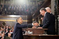 President Obama greets Speaker Boehner before the 2011 State of the Union address