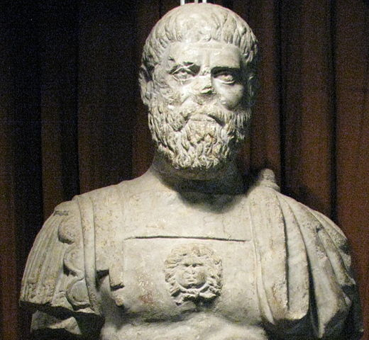 """""""Alba Iulia National Museum of the Union 2011 - Possible Statue of Roman Emperor Pertinax Close Up, Apulum"""" by Codrin.B - Own work."""