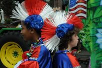 """Mardi Gras 2009 Krewe of King Arthur Red White Blue Wigs"" by Larry Johnson"