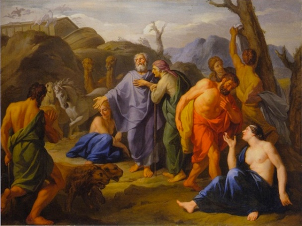 """""""Noah, His Family, and the Animals Leaving the Ark"""" by Daniel Sarrabat, Museum of Fine Arts of Lyon"""