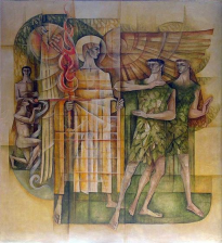 """Mural of the archangel expelling Adam and Eve from the Garden of Eden,"" By John Salmon, Church of St Michael and All Angels,  London, U.K."