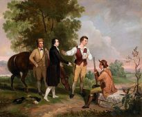 """""""The Capture of Major Andre,"""" by Asher Brown Durand, depicts New York militia men detaining an English spy."""