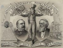 Campaign banner for Grover Cleveland, claiming that, among other things, he stands against crony capitalism.