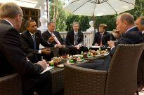 President Barak Obama meeting with Prime Minister Vladimir Putin.