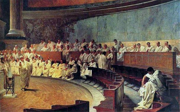 """""""Cicero Denouncing Cataline"""" by Cesare Maccari, Palazzo Madama, Rome"""