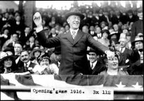 President Woodrow Wilson throws out a ball on opening day of baseball season, 1916.