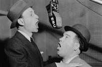 Bud Abbott and Lou Costello in the NBC radio studios.