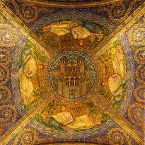 Ceiling Civitas Dei (City of God), Entrance of the Cathedral, Aachen, Germany.