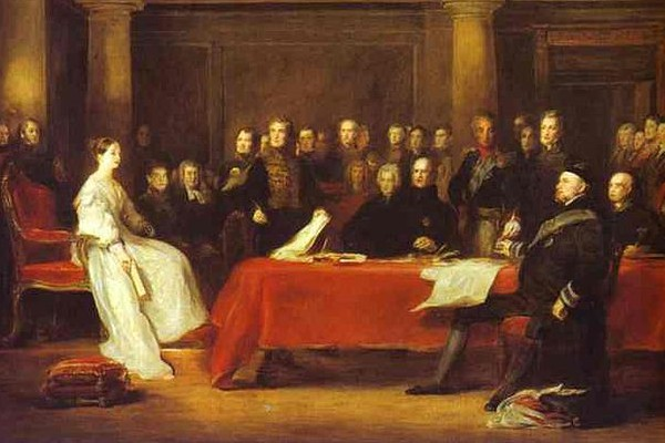 Queen Victoria holding a Privy Council meeting, by Sir David Wilkie, 1838.