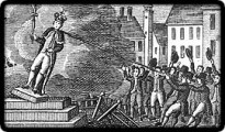 American colonists in New York City pull down a statue of King George III to be melted into bullets. Licensed under Public Domain via Wikimedia Commons.