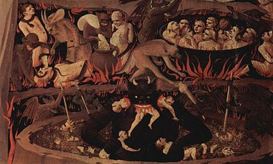 "Detail of Hell from the ""Last Judgment"" by Fra Angelico, Museum of San Marco, Florence."