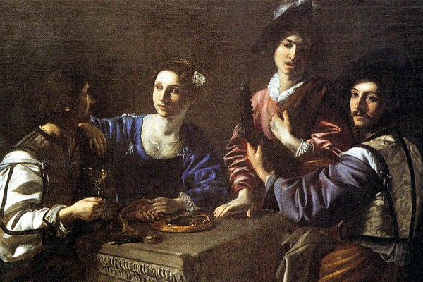 """""""Drinking Party with a Lute Player,"""" by Nicolas Tournier, Musee de Berry, Bourges."""