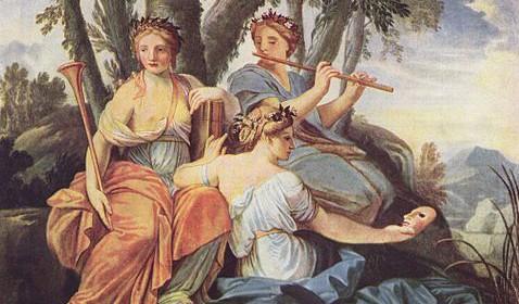 """""""Clio, Euterpe, and Thalia,"""" by Estache Le Sueur, Louvre Museum, Paris."""