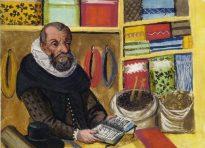 A merchant displays his wares.