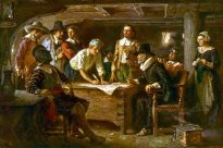 """The Mayflower Compact, 1620,"" by Jean Leon Gerome Ferris"