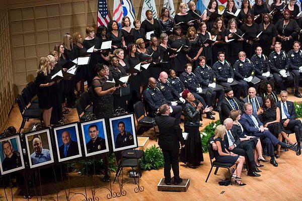 Dallas police shooting memorial, July 12, 2016.