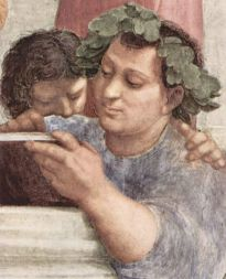 "Epicurus, detail from the ""School of Athens,"" by Raphael, Stanza della Segnatura, Vatican City"